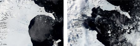 Before and After Pictures of the Larsen B Ice Shelf in Antarctica