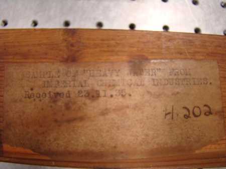 Label showing heavy water sample was obtained in 1935!!