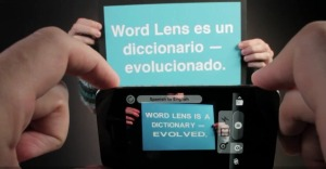 Picture showing the Word Lens iPhone app in action