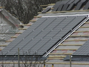 Solar Panels on the roof of new houses in Teddington