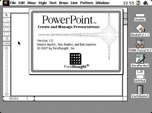 Screen shot of Powerpoint in 1987 - before it was bought by Microsoft.