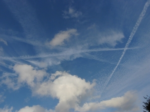 Cirrus clouds formed by aircraft contrails