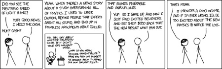 The xkcd take on the neutrino speed measurements. Click to link to xkcd site