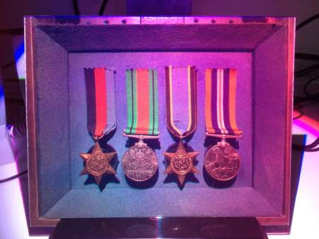I took this photograph of what looks like a box containing 4 medals. In fact it was a hologram of a box containing 4 medals - the most convincing hologram I have ever seen,