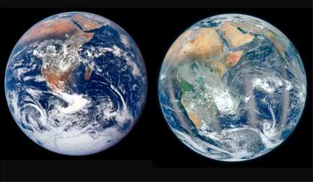 One of these images is a photograph of the Earth. The other isn't. So which is which? And what is the other one? (Images courtesy of NASA)