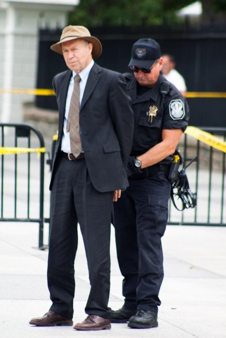 James Hansen being arrested