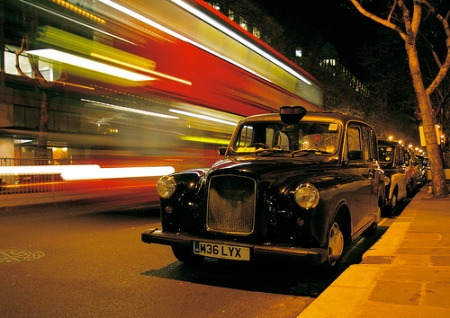 London traffic at night