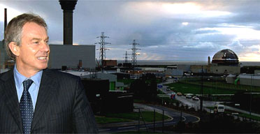 Tony Blair with the Sellafield reprocessing plant in the background. Basically there has been no progress on the of re-building nuclear plants  since 2004.