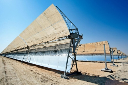 Some of the long parabolic reflectors in the Shams 1 electric power plant in Abu Dhabi.