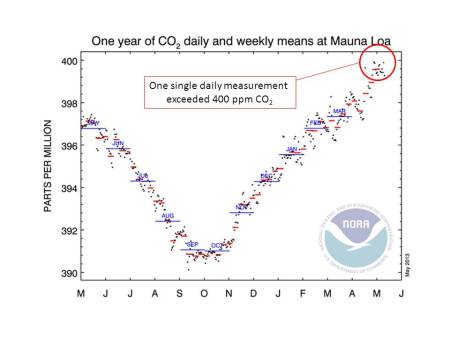 Daily carbon dioxide concentration measurements for the year to May 2013. Daily measurements are shown as black dots, weekly averages as red lines, and monthly averages as blue lines.  On May 9th 2013, the daily value exceeded 400 ppm.