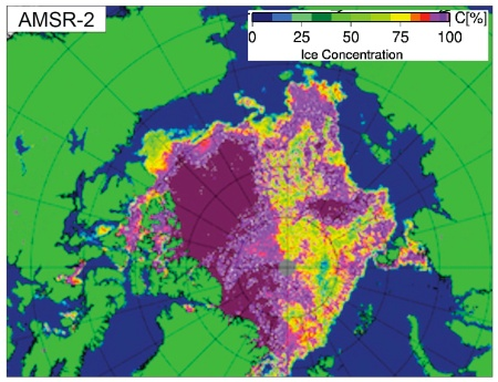 Colour-coded map showing the sea ice coverage.