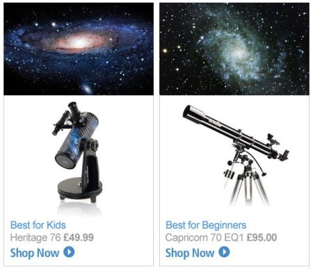 Did you buy a telescope like this for Christmas? Well please don't expect to ever see images like the ones shown.