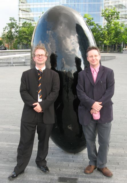 Andrew Hanson (left)  and myself standing by an alien landing pod somewhere in London
