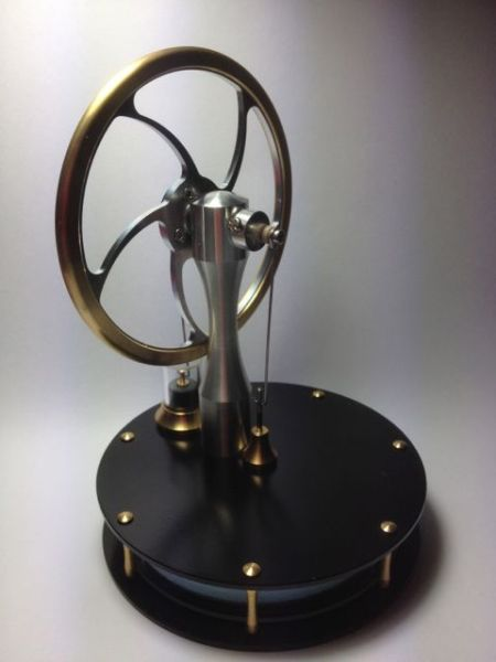 A Stirling Engine turns a flow of heat into mechanical motion