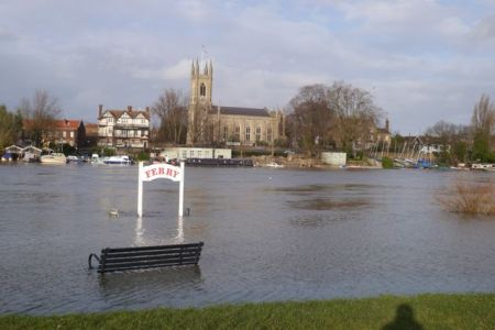 The River Thames in flood last weekend. As I write, the water level has called by around 20 centimetres.