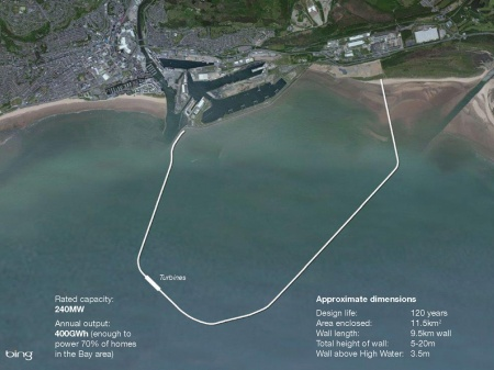 Map of the Swansea tidal lagoon