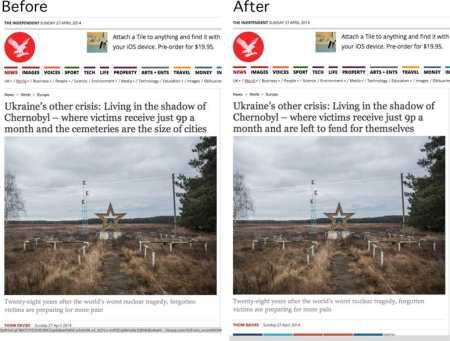Two headlines for the same independent story about the plight of residents of the Chernobyl district of the Ukraine