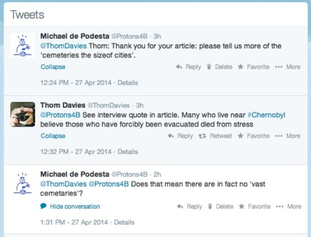 weets exchanged with Thom Davies. I have no idea if this was personal or public conversation - twitter is like that!