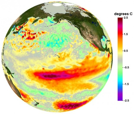 Illustration of the region of the Pacific Ocean in which the El Nino climate event is focussed. The event affects global climate and measurably affects the rotation of the Earth.