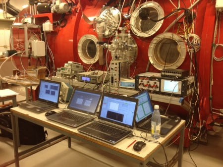 Our data acquisition equipment outside the Aarhus University Mars Simulator.