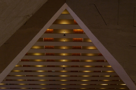View from the upper floors of the interior balconies of the Luxor Hotel - which is pyramidal in shape.
