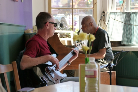 Two musicians playing Jazz at 'The Melt' a small cafe on Columbus AVenue, San Francisco.
