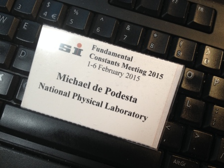 My badge for the Fundamental Constants Meeting