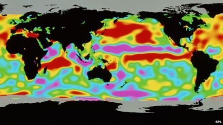 Illustration of changes in the height of the sea surface during an El Nino Event. It's hard to know exatly what to make of this graphic, but it does look nice. Courtesy of the BBC
