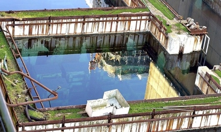 Outdoor storage of nuclear waste at Sellafield