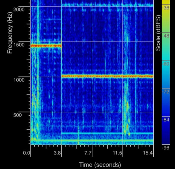 A spectrogram showing how the frequency of a singing glass is lowered by adding water. Note, the application was paused at 3.8 seconds and then re-started with water in the glass.