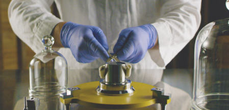 Handling a kilogram (but not THE kilogram). Picture taken from The Last Artifact Web Site
