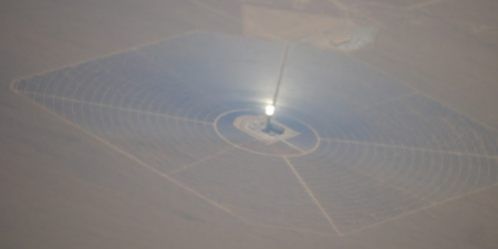 One of three solar collectors at the Ivanpah solar power plant.