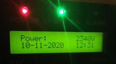 The inverter shows 2.34 kW of generated power on 10th November 2020!