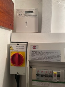 Isolation switch and generation meter installed near the distribution board.